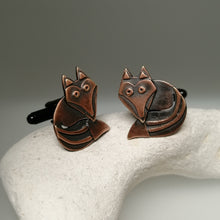 Load image into Gallery viewer, fox cuff links in a copper finish handmade by Sharon McSwiney
