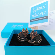 Load image into Gallery viewer, fox cuff links in a copper finish handmade by Sharon McSwiney in a gift box
