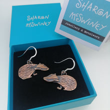 Load image into Gallery viewer, Badger earrings in a copper finish with silver hooks handmade by Sharon McSwiney in a gift box