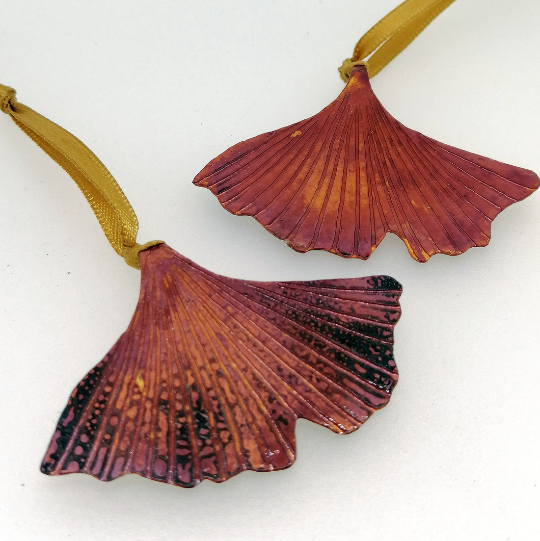 Small ginkgo biloba leaf decoration handmade by Sharon McSwiney