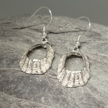 Load image into Gallery viewer, Godrevy limpet shell silver drop earrings handmade by Sharon McSwiney