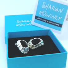 Load image into Gallery viewer, Godrevy limpet silver shell stud earrings handmade by Sharon McSwiney in a gift box