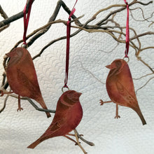 Load image into Gallery viewer, Goldfinch bird decoration in copper handmade by Sharon McSwiney