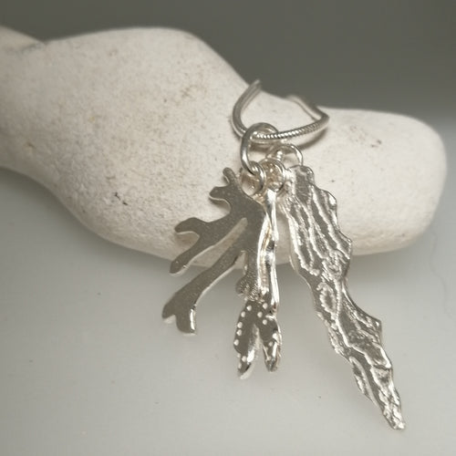 Seaweed bunch sterling silver necklace pendant by Sharon McSwiney St Ives