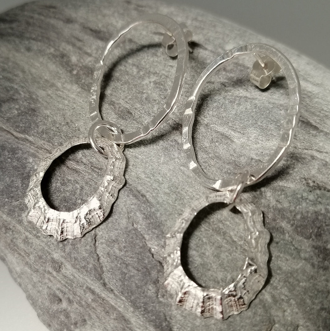 Porthmeor limpet shell earrings with hammered silver loop handmade by Sharon McSwiney