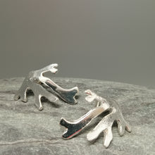 Load image into Gallery viewer, Seaweed frond stud earrings in sterling silver handmade by Sharon McSwiney