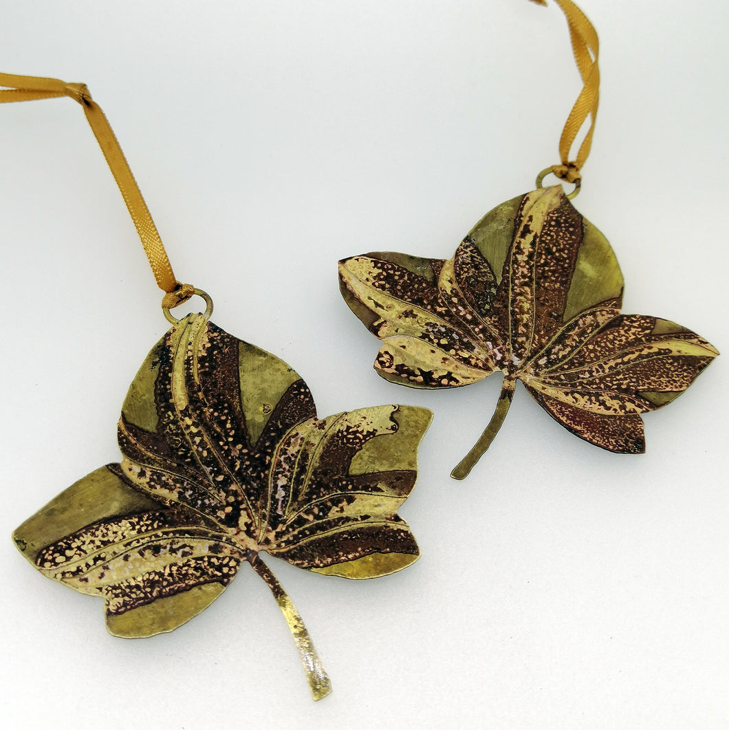Ivy leaf decoration in brass handmade by Sharon McSwiney