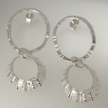 Load image into Gallery viewer, Porthmeor limpet shell earrings with hammered silver loop handmade by Sharon McSwiney