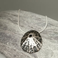 Load image into Gallery viewer, Oxidised Sennen Cove Limpet pendant necklace handmade by Sharon McSwiney, St Ives