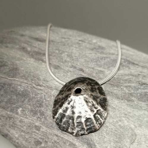 Oxidised Sennen Cove Limpet pendant necklace handmade by Sharon McSwiney, St Ives