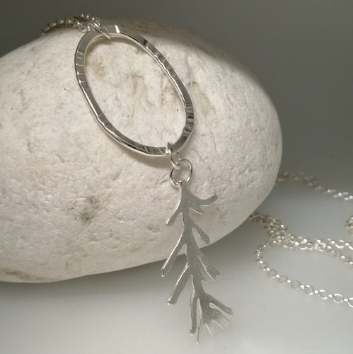long seaweed frond silver necklace handmade by Sharon McSwiney