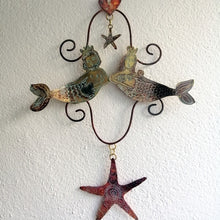 Load image into Gallery viewer, Handmade mermaid couple wall hanging in copper & brass by Sharon McSwiney