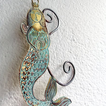 Load image into Gallery viewer, mermaid metalwork by Sharon McSwiney in etched brass