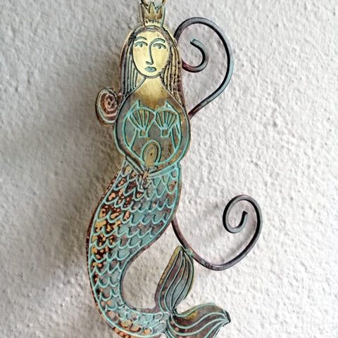 mermaid metalwork by Sharon McSwiney in etched brass