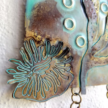 Load image into Gallery viewer, Metalwork section of wall panel with sea anemone & seaweed handmade by Sharon McSwiney