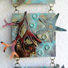 Load image into Gallery viewer, Metalwork wall panel with 3 sections featuring seaweed & starfish handmade by Sharon McSwiney