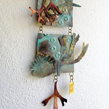 Load image into Gallery viewer, Metalwork section of wall panel with seaweed handmade by Sharon McSwiney