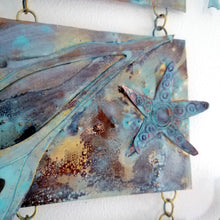 Load image into Gallery viewer, Metalwork long wall panel in copper & brass featuring starfish with seaweed handmade by Sharon McSwiney