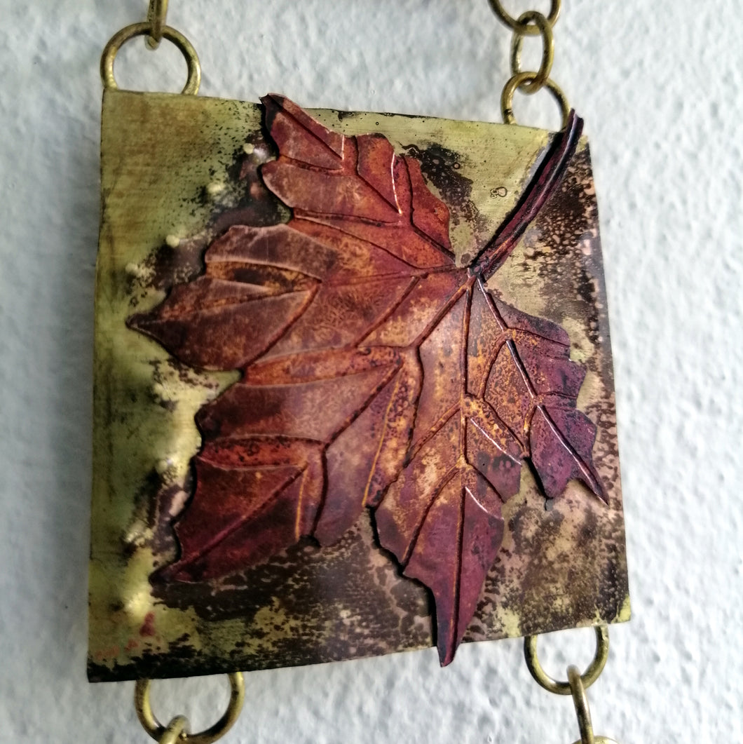 Mini panel with leaf decorations in copper & brass handmade by Sharon McSwiney