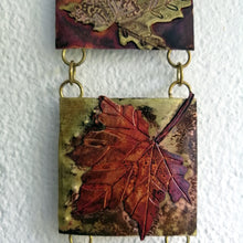 Load image into Gallery viewer, Mini metalwork panel with leaf decorations in copper & brass handmade by Sharon McSwiney