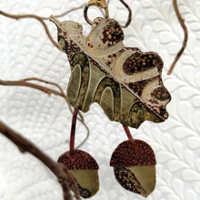Load image into Gallery viewer, Oak leaf & Acorns decoration in brass and copper handmade by Sharon McSwiney