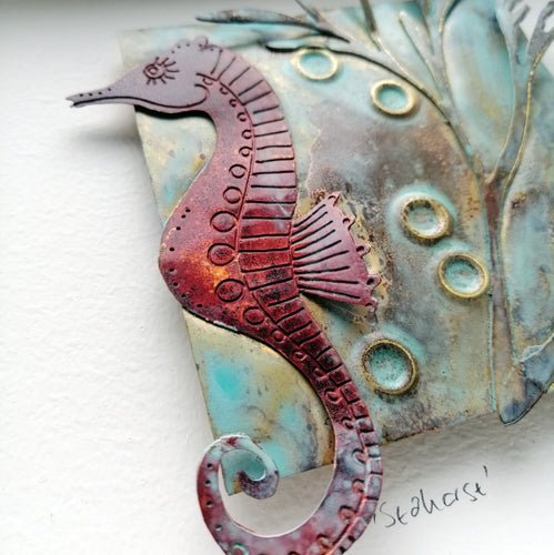 copper seahorse with seaweed metalwork picture handmade by Sharon McSwiney