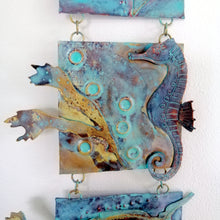 Load image into Gallery viewer, Metalwork long wall panel in copper & brass featuring seahorse with seaweed handmade by Sharon McSwiney