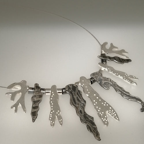 Multi seaweed sterling silver collar necklace handmade by Sharon McSwiney