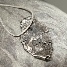 Load image into Gallery viewer, Oxidised silver beach find fragment pendant necklace by Sharon McSwiney St Ives