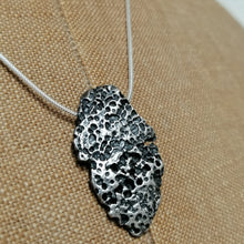 Load image into Gallery viewer, Oxidised silver beach find fragment pendant necklace by Sharon McSwiney St Ives in gift box