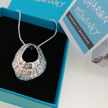 Load image into Gallery viewer, A large sterling silver Godrevy limpet shell necklace handmade by Sharon McSwiney in a gift box