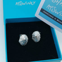 Load image into Gallery viewer, Small Marazion silver limpet shell stud earrings handmade by Sharon McSwiney in a gift box