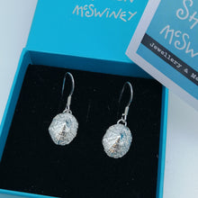 Load image into Gallery viewer, Small Marazion silver limpet shell drop earrings handmade by Sharon McSwiney in a gift box