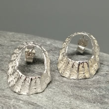 Load image into Gallery viewer, Godrevy limpet silver shell stud earrings handmade by Sharon McSwiney