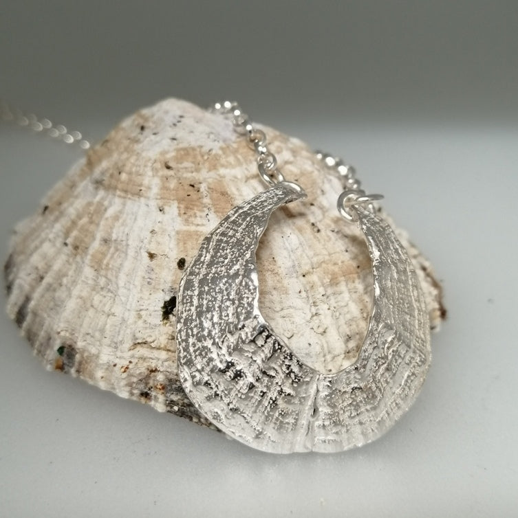 St Ives Harbour silver limpet pendant necklace handmade by Sharon McSwiney