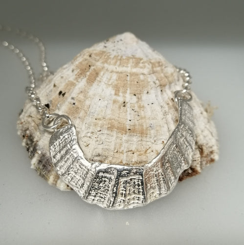 sterling silver limpet fragment necklace from St Ives handmade by Sharon McSwiney