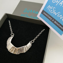 Load image into Gallery viewer, sterling silver limpet fragment necklace from St Ives handmade by Sharon McSwiney in a gift box