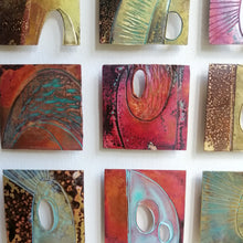 Load image into Gallery viewer, Textured metalwork squares individually handmade by Sharon McSwiney