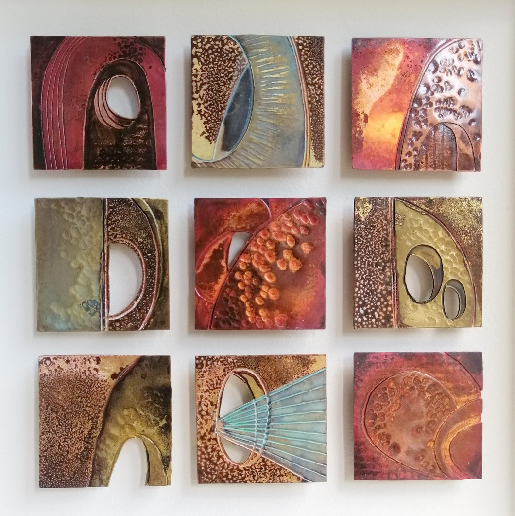 Textured metalwork squares individually handmade by Sharon McSwiney