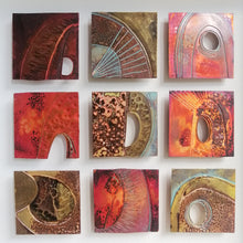 Load image into Gallery viewer, 9 Textured metalwork squares individually handmade by Sharon McSwiney
