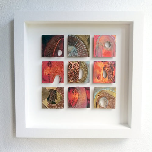 9 Textured metalwork squares individually handmade by Sharon McSwiney