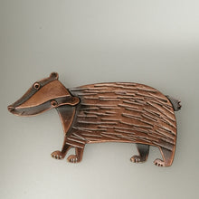 Load image into Gallery viewer, badger brooch in a copper finish handmade by Sharon McSwiney