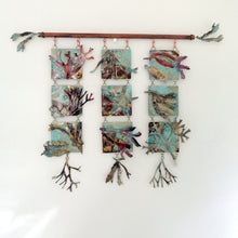 Load image into Gallery viewer, Triple seaweed panel in copper & brass handmade by Sharon McSwiney