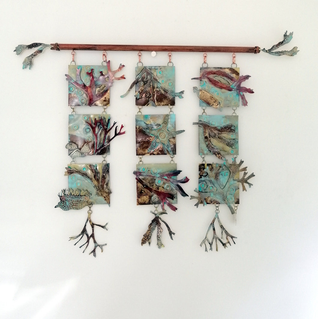 Triple seaweed panel in copper & brass handmade by Sharon McSwiney