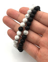 Handmade Black and White Beaded Bracelets