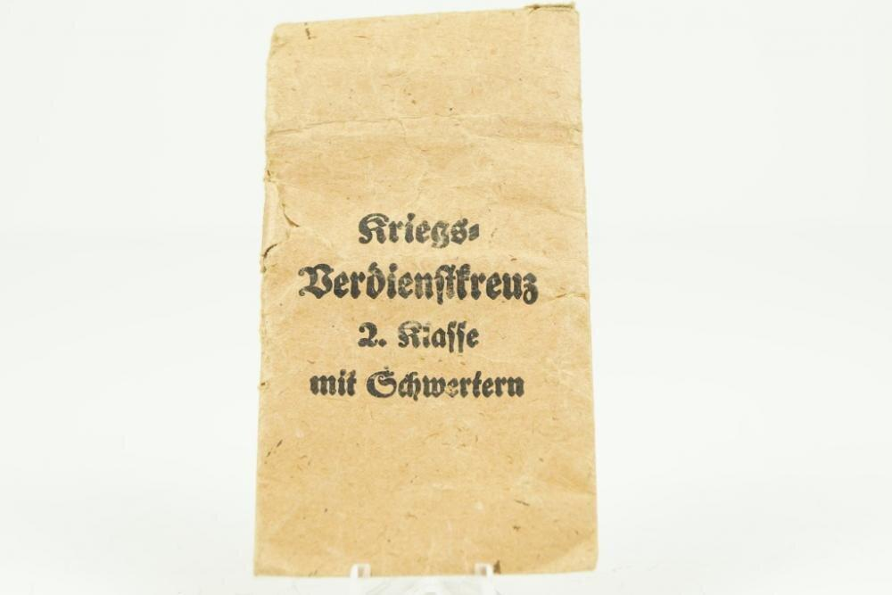 WW2 German Kriegsverdienstkreuz w. Swords 2. Class Paper bag - Nordic-Militaria