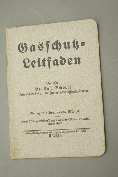 """Gasschutz-Leitfaden"" Gasmask instruction manual. WW2 German"