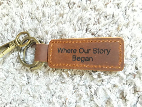 where our story began customized leather keychain