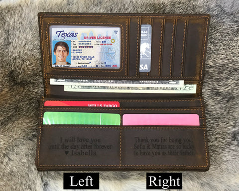 leather long wallet for him