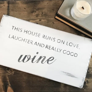 "Coco Kisses ""Love and Wine"" sign"